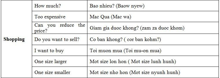 Basic Vietnamese phrases-shopping