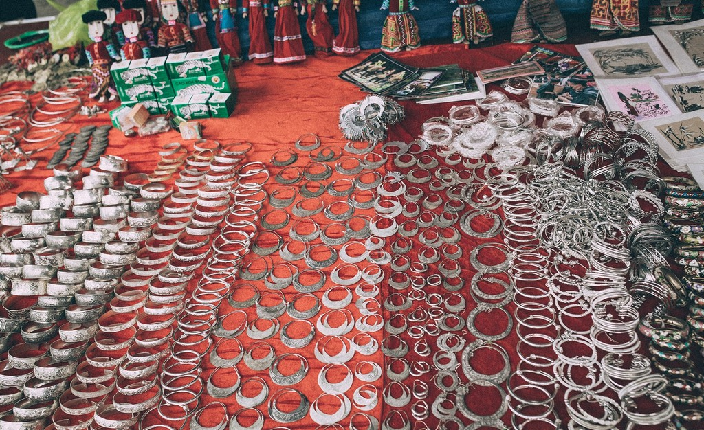 Silver jewelry such as necklace in Bac Ha Market